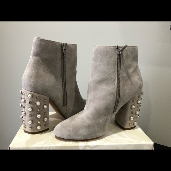 12d05cb7c89 Steve Madden Yvette Suede Pearl Booties in Taupe. M 5bd6eef2f63eea9c3e2c3593